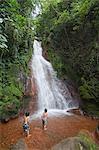 Boys Playing in Waterfall, Miravalles, Cordillera de Guanacaste, Guanacaste, Costa Rica