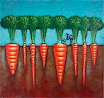 Abbildung des Mannes Bewässerung Riese Karotten