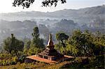 Pagoda and View of Pindaya Valley, Shan State, Myanmar