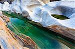 Rock Formation Created by River Verzasca, Lavertezzo, Locarno, Switzerland