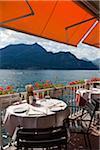 Vue depuis le Restaurant, Bellagio, lac de Côme, Lombardie, Italie