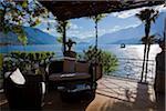 Patio donnant sur le lac de Côme, Bellagio, Lombardie, Italie