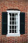 Photophore/fenêtre, Old Salem, North Carolina, USA