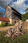 Grange à côté de la maison des frères unique, Old Salem, North Carolina, USA
