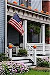 Maison décorée de citrouilles, Front Royal, Virginia, USA