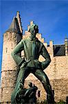 Belgium, Antwerp, Flanders, Europe; Scupture representing Giant Antigon at the 'Steen' fortress
