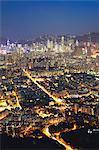 View of Kowloon and Hong Kong Island from Lion Rock at dusk, Hong Kong, China