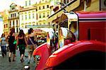 Czech Republic, Prague; A vintage car parked near the Old Town square
