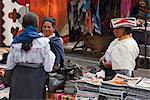 Ecuador, Market stalls selling local crafts at Otavalo.