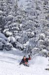 A skier deep in powder at La Flegere,Chamonix,France