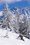 A snowboarder at La Flegere,Chamonix,France