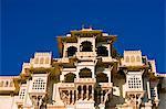 Façade du Palais de la ville au petit matin le City Palace, Udaipur, Rajasthan. Inde