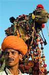 Inde, Rajasthan, Pushkar. Chameaux décorés rivalisent pour gagner des prix pour présentation aux Championnats du monde plus grand chameau équitable.