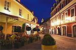 Lithuania, Vilnius, Outdoor Cafe On Stikliu Gatve At Dusk