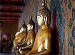 Statues of Buddha in the Wa Arun Temple in Bangkok Thailand