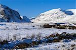 Wales, Gwynedd, Snowdonia. View up the Ogwen Valley in winter.