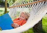 Boy laying in hammock reading book