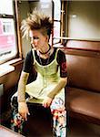 Portrait de femme dans le Train