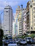Madrid, Gran Via, main traffic artery through downtown Madrid.