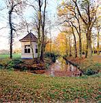 Drenthe, canal and pavillion on Overcinge Estate near Havelte.
