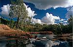 Australie, Northern Territory, nr de Jatbula Trail, Parc National de Nitmiluk Katherine. Un marcheur se refroidit dans une piscine de roche par Sandy Camp Pool.