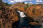 Australia, Northern Territory, Jatbula Trail, Nitmiluk National Park, nr Katherine. Swimmers enjoy a rock pool at Edith Falls.