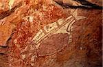 Australie, Northern Territory, Parc National de Kakadu. Une figure de l'animale style du x-ray à la galerie Nangguluwur à la base de Nourlangie Rock