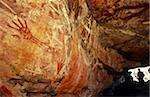 Australie, Northern Territory, terre d'Arnhem, nr Mt Borradaile. Art rupestre aborigène dans un abri « Major Art »