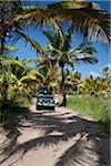 Mozambique, Tofo. Un 4 x 4 explore les chemins de la plage de Tofo.