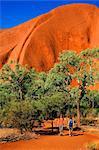 Australie, Northern Territory, Parc National d'Uluru-Kata Tjuta. Randonneurs sur le parcours de base à Uluru (Ayers Rock). (PR)