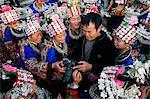 China, Guizhou Province, Xijiang, wooden buildings, Miao New Year festival celebrations