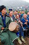 China, Guizhou Province, Sugao village, men celebrating at Long Horn Miao lunar new year festival