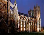 England, London. London Westminster Abbey at dusk