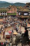 People at Gaijatra Festival, Taumadhi Square, Bhaktapur, Bagmati Zone, Madhyamanchal, Nepal