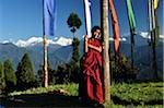 Young Buddhist Monk, Kangchenjunga in the Distance, Sanga Choeling Monastery, Pelling, West Sikkim, Sikkim, India