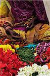 Woman Selling Flowers, Varanasi, Varanasi District, Uttar Pradesh, India