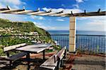 Picnic Table Overlooking Atlantic Ocean, Calheta, Madeira, Portugal
