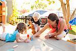 Family Playing on Porch, Newport Beach, Orange County, California, USA