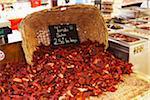Getrocknete Tomaten zum Verkauf an Markt, AIX Bouches-du-Rhone, Provence, Frankreich