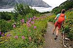 Woman hiking on the trail to Exit Glacier in the Harding Icefield, Kenai Fjords National Park, Kenai Peninsula, Southcentral Alaska, Summer