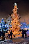 Vue nocturne sur un arbre de Noël allumé sur la place de la ville de Anchorage avec les gens au centre-ville, centre-sud de l'Alaska, hiver