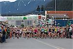 The start of the 2010 Women's Mt. Marathon Race in Seward on July 4th, Kenai Peninsula, Southcentral Alaska, Summer