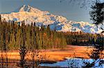 Blick auf den Mount McKinley Southside bei Sonnenaufgang mit den kleinen See im Vordergrund, South Central Alaska, Herbst, HDR-Bild