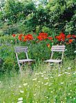 Garden furniture in a garden.
