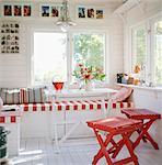 Innenraum ein Gartenhaus in Roslagen, Schweden.