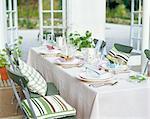 Table setting in a veranda.