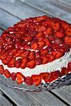 A strawberry cake, close-up.