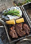 Barbecue de viande, les rafles et les asperges.