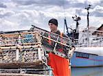 Casiers à homards chargement pêcheur
