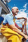 Fisherman holding fishing nets